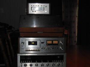 Stereo Receiver, Cassette Deck, Eight Track and Turntable.