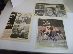 Three Autographed Hockey Newspaper Clippings