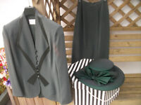 Stunning Dark Green Wedding Suit and matching Hat size 12 by TOM BOWKER for Coterie