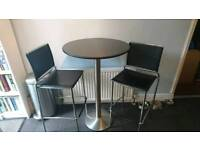 Marble top bistro/dining table for 2 with 2 bar stools/chairs