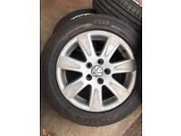 """4x 16"""" VW Alloy Wheels and Tyres 5x112 PCD"""