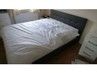 Grey faux leather King size bed frame