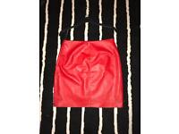 MISS GUIDED FAUX RED LEATHER SKIRT s/12