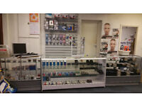 Glass Display Shop Counters 2 x grey and 1 x white *** SOLD ***