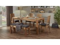 Brand New Oak Table, 4 chairs and Bench