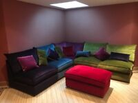 5 piece velour sofa and footstool
