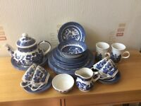 34 piece Blue Willow Tea and Dinner Service