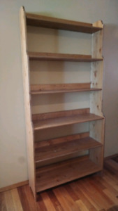 Two solid wood bookshelves