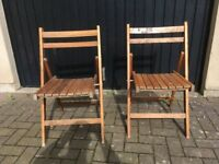 2 folding wooden garden chairs