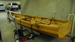 Cedar Strip Cargo Canoe with Trailer