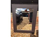 Brown faux leather mirror 2 of 2