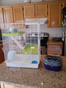 Cage  for hamster or small rodent + animal carrier BOTH LIKE NEW