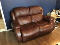 Brown leather 2-seater electric recliner sofa and matching chair
