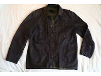 Tough dark blue denim jacket with pockets and emerald green interior, perfect condition, large size