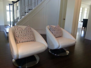 Scan Design white leather swivel chairs