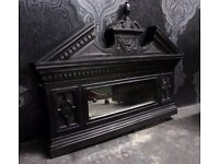 Stunning Reclaimed Cast Iron Over Mantle Mirror Rare - Uk Delivery