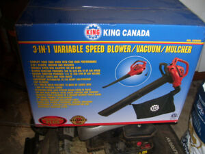 King variable speed blower, vacuum, mulcher new in box