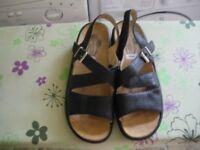 Ladies Black Leather Scholl Sandals UK 6