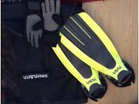 Diving Finns, Gloves and Divers Backpack