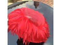 Wedding hat - red feathers.