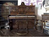 Superbly Carved Antique STERNDALE Walnut Upright Piano