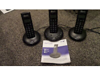 BT Graphite 2500 3 mobile phones with answering machine trio triple cordless