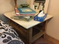 Pine bedside table/ coffee table. Painted top.