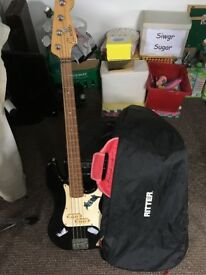 Bass guitar, case and optional amp