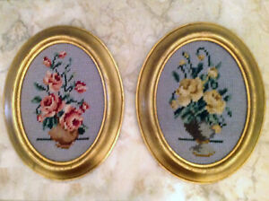 Two Floral Needlepoints in Gold Oval Frames