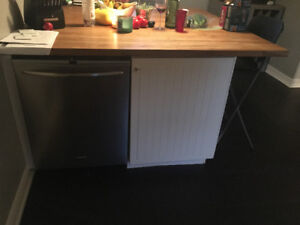 Complete 5'x5' kitchen island complete with butcher block top
