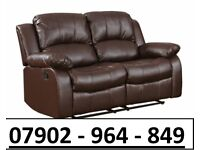 2+2 SEATER NEW LEATHER RECLINER SOFAS IN CHOCOLATE BROWN 2