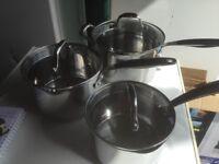 Three Assortes Size S/ Steel Saucepans With lids