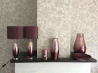 Two table lamps and two vases and one fruit bowl one candle all matching purchased from Next