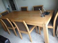 Solid Oak Dining Table and 6 Upholstered Chairs