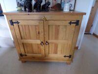 Solid wood cupboard - oak stained.