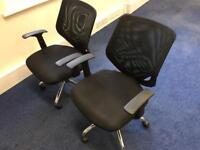 2 x Black Office Swivel Chairs - Urgent