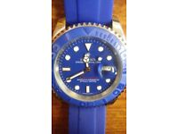 rolex yacht master ii blue face flip lock clasp oyster flex strap ceramic unidirectional bezal