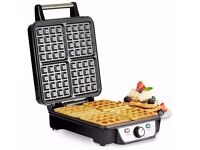 Andrew James Belgian Waffle Maker, 4 Slice, 1100 Watts, Adjustable Temperature | Used/Excellent