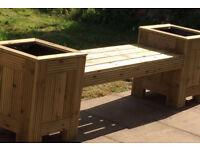Wooden Garden Bench Planter T&G Decking Planters