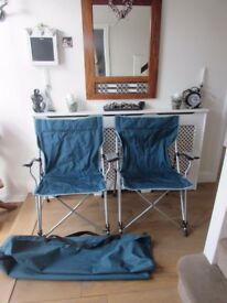 Quality folding camping fishing chairs two available