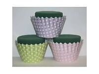 OASIS FOAM FOR FLOWER ARRANGING SMALL CUP CAKES X 6 POLKA DOT PATTERN ON OUTSIDE