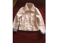Girls pink leather look jacket age 7-8
