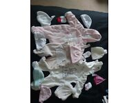 Newborn-3 Months Girls Winter Hat, Onsies, Sleepsuits, Babygrows, Dungarees, Mittens