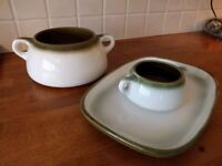 White and green French serving dishes
