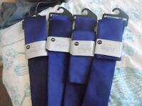 4x dark purple ties with matching pocket handkerchief