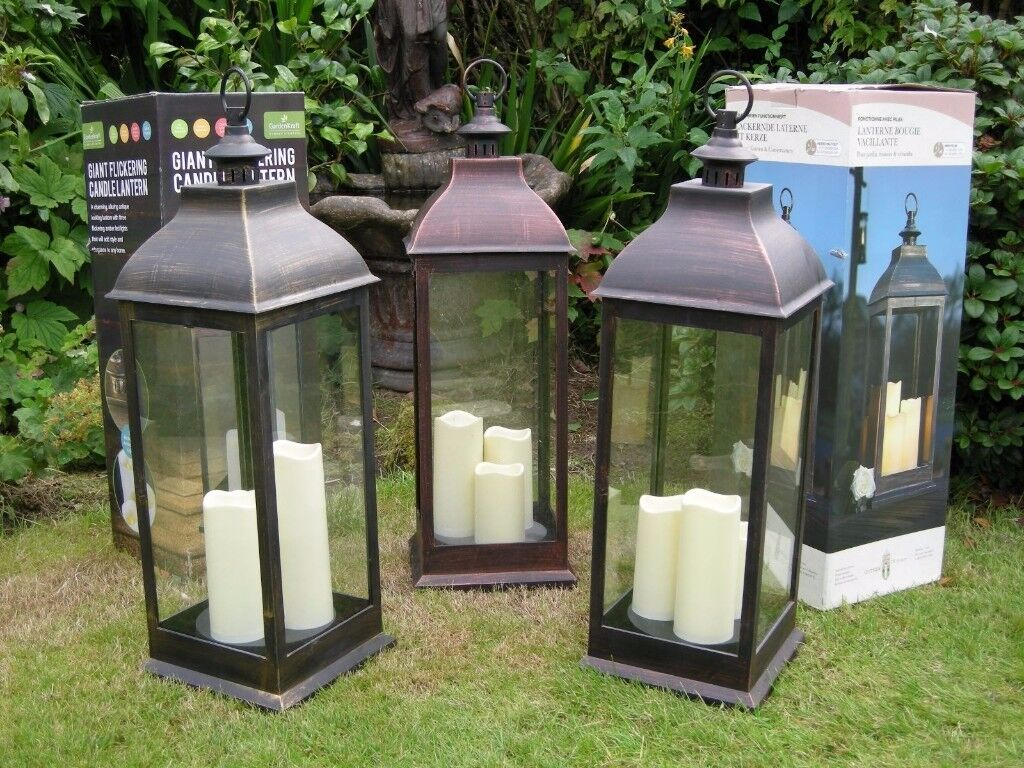 3X GIANT FLICKERING 3 LED CANDLE LANTERN 72CM BATTERY CHRISTMAS PATIO BBQ LIGHTS