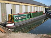 52' Tug Style narrowboat canal boat traditional back cabin.