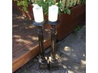 Wooden candlesticks - pair