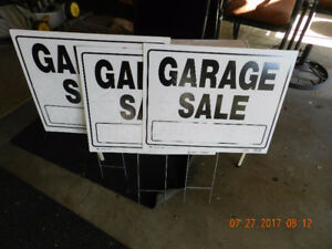 3 large Garage sale signs. take all 3 for $45.00 for them.