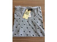 Ladies 100% cotton t shirt grey with black heart motifs sizes s, m and large available